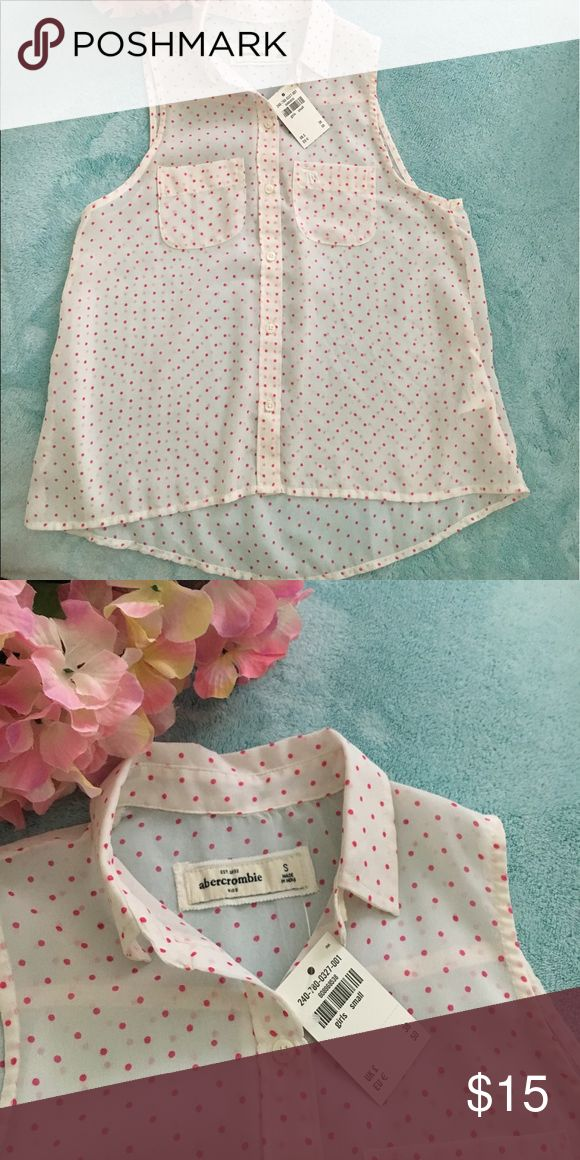 Abercrombie Girls White & Pink Polka Dot Top Great for summer! Abercrombie Girls Top. Brand new with tags on it. It is shear and will need a cami under it. Perfect for those hot days! abercrombie kids Shirts & Tops Blouses