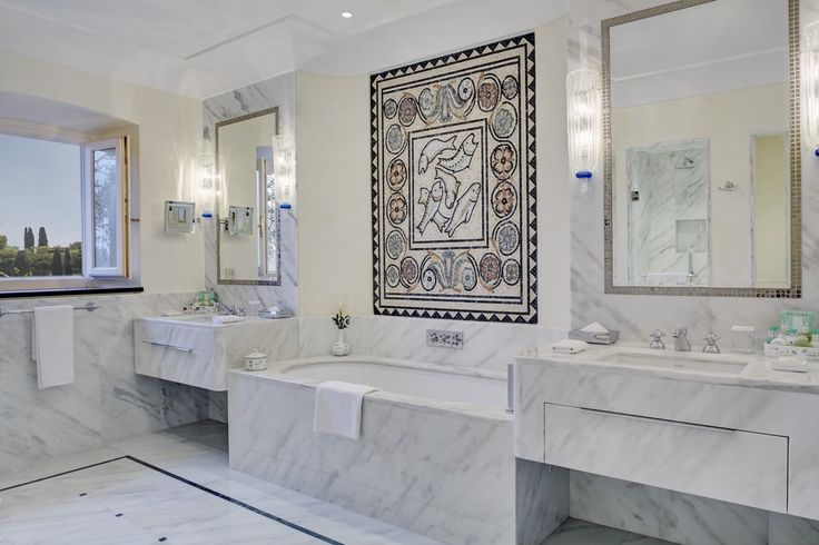 Luxurious marble bathroom of the Dolce Vita Suite