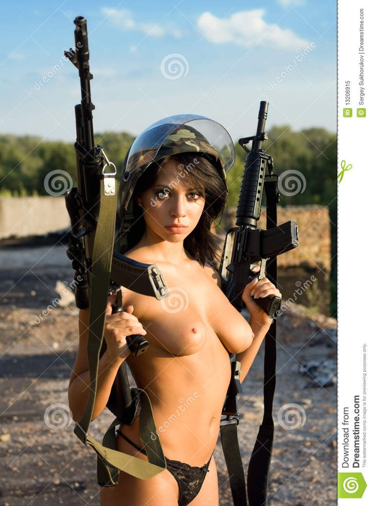 Military naked army girl holding a gun consider, that