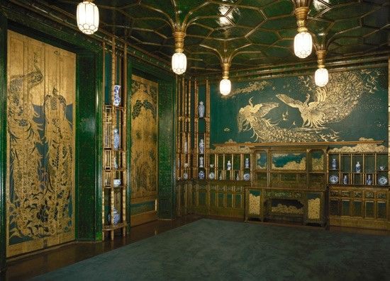 1902: Freer spends the summer in Britain and sees James McNeill Whistler's Peacock Room in London. The Peacock Room was once the dining room in the London home of Frederick R. Leyland, a wealthy ship-owner from Liverpool, England, and Whistler's most important patron.   View of the southeast corner of the Peacock Room; James McNeill Whistler (1834–1903); 1876–77