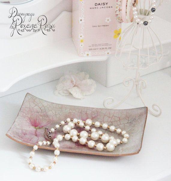 Jewelry tray glass tray decoupage tray glass plate by ByRoxanaRusu