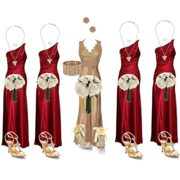 Gold and Red Wedding Party Attire by tammymcgheerobinson on Polyvore featuring Wild Rose, Forever 21, Pieces and wedding fashion