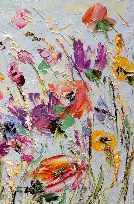 oil painting flowers palette knife painting on canvas abstract flower painting custom living room wall art color - Oil Painting