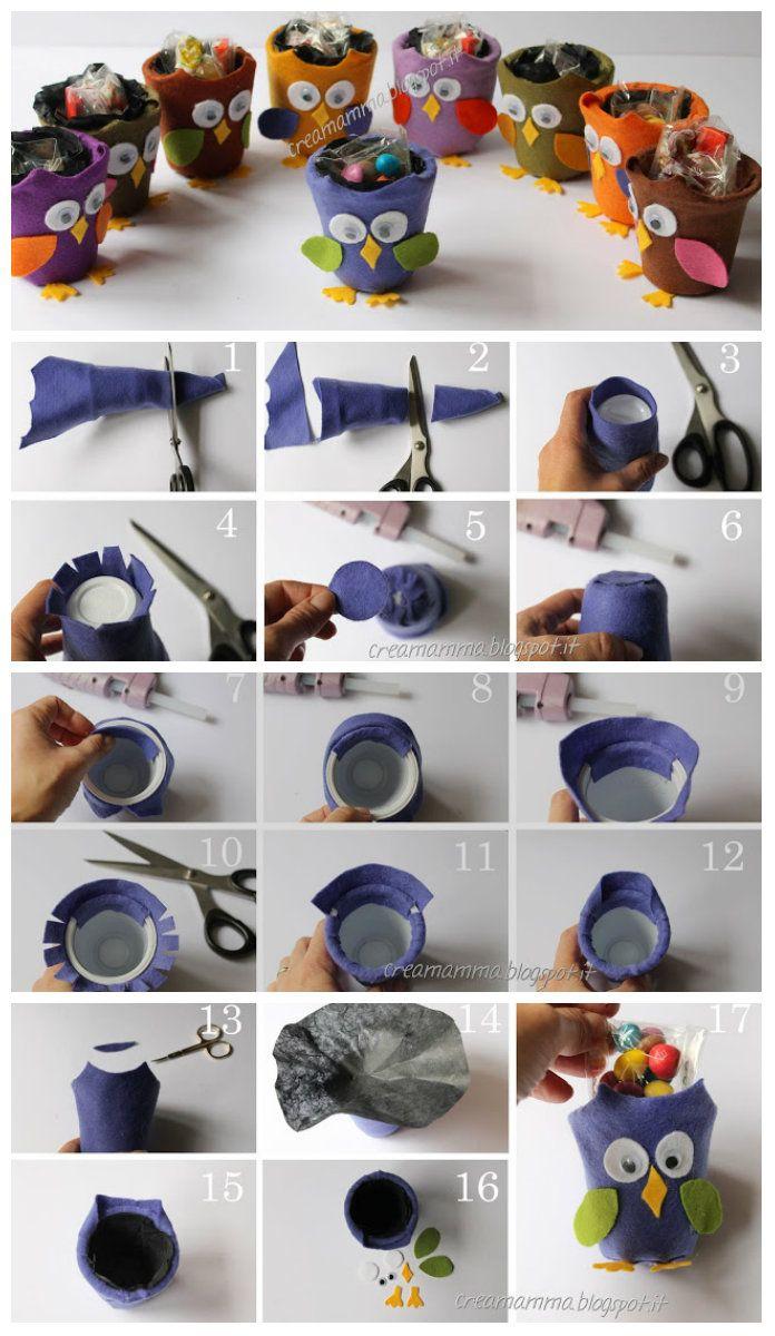 I vasetti di Yogurt si riciclano facendo dei gufetti - Tutorial | Cucito Creativo - Tutorial gratuiti - Idee Creative - Uncinetto - Riciclo Creativo <3