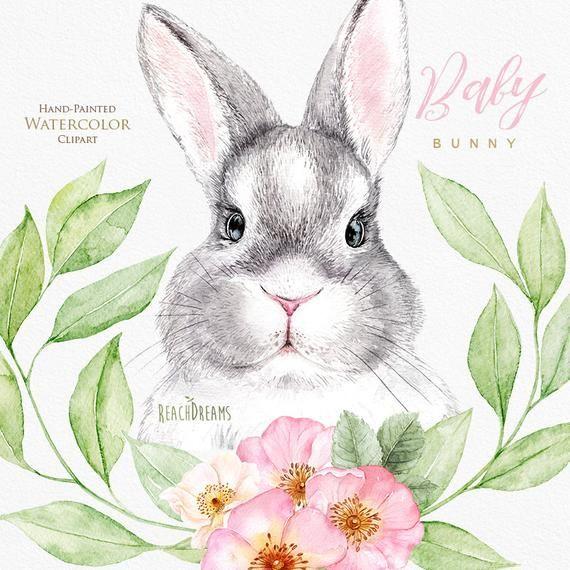 Watercolor Bunny Little Animals Clipart Rabbit Babies Portrait