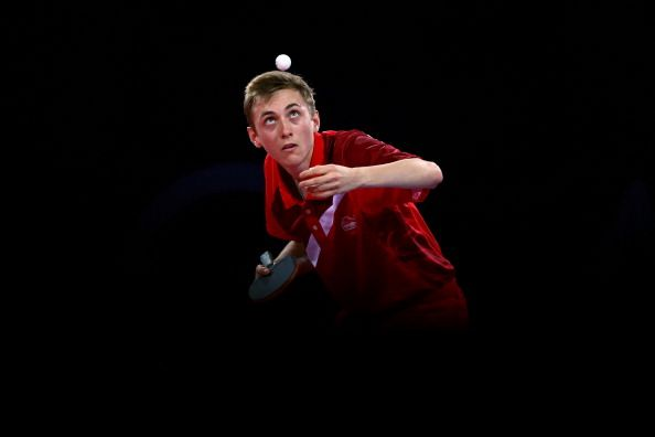 Liam Pitchford of England competes in the Men's Table Tennis singles Quarter Finals match against Soumyajit Ghosh of India at Scotstoun Sports Campus during day nine of the Glasgow 2014 Commonwealth Games on August 1, 2014 in Glasgow, United Kingdom. (Photo by Clive Rose/Getty Images)