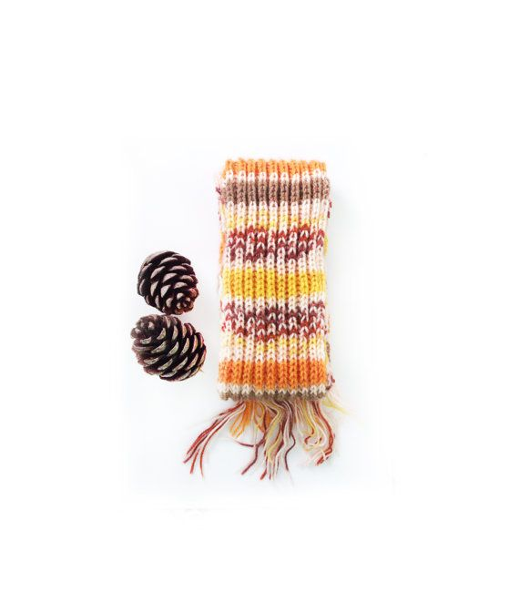 Hand knit multicolor long scarf   Warm scarf Knit by GuruMIme
