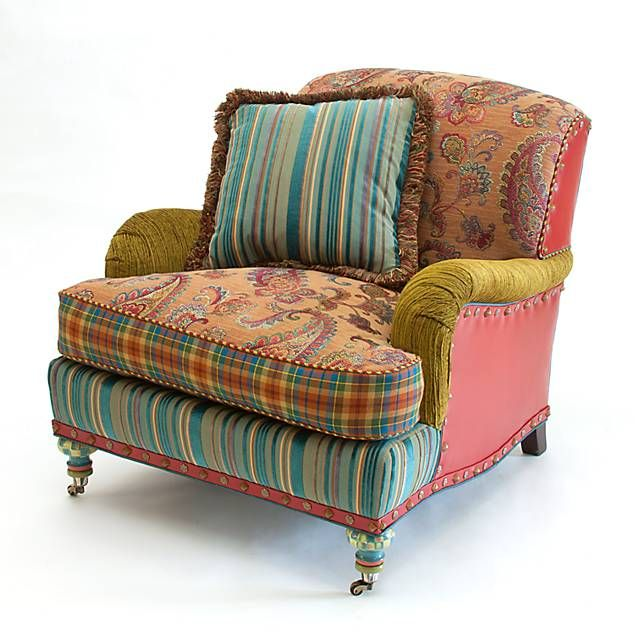 Love the furniture made with different fabrics and textures...  It has character.  Highland Club Chair by MacKenzie Childs......