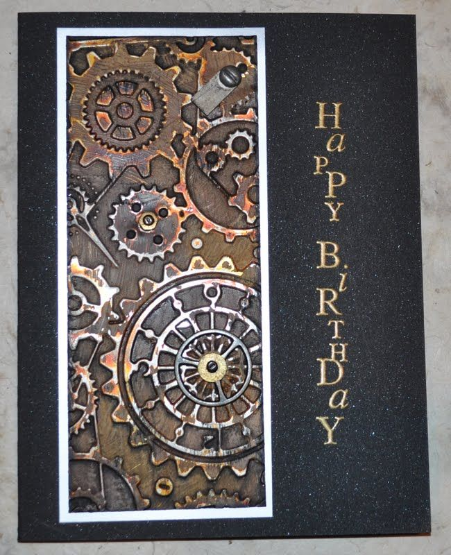 Love this card from Inky Fingers: EPSAI metal.  Dry embossed metal was covered with gesso then painted with alcohol ink.