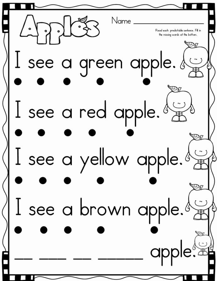 Easy Reading Worksheets For Preschoolers New September Themed Simple  Predictable Senten… Reading Worksheets, Kindergarten Reading, Kindergarten  Reading Worksheets