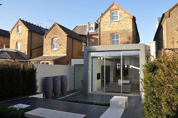 Extension to an Edwardian semi-detached house with a modern back yard
