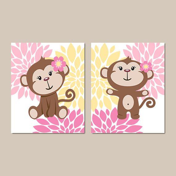 Niña mono pared arte bebé niña vivero Decor por LovelyFaceDesigns