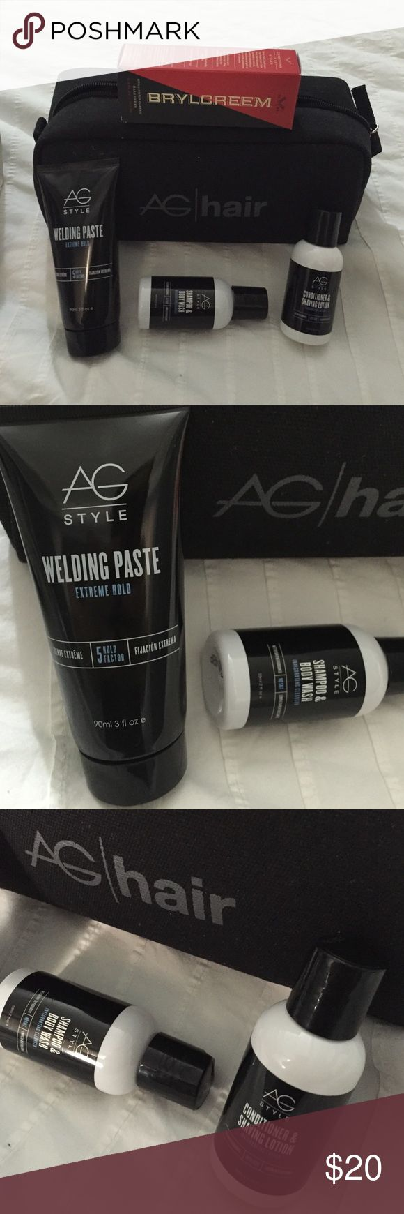 """Men's AG hair travel set + bag NWT NWT men's  travel in style set from AG hair comes w/a 3 fluid ounce """"welding paste""""extreme hold gel + a 2 ounce shampoo/body wash & a 2 ounce conditioner/shaving lotion NOW with bonus travel size Brylcreem. $35 value. $20 now Sephora Other"""
