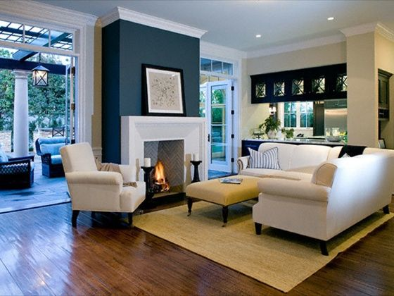 20 Living Room With Fireplace That Will Warm You All Winter A Navy Accent Wall
