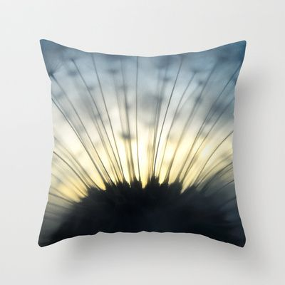 Dandelion & Sun II. Throw Pillow by Martin Misik - $20.00 // #pillow #print #art #society6 #dandelion #sunset #prague #macro #flower #blue #yellow #fluff #seed #flying #calm #quiet #still #relaxation #meditation #evening #globe