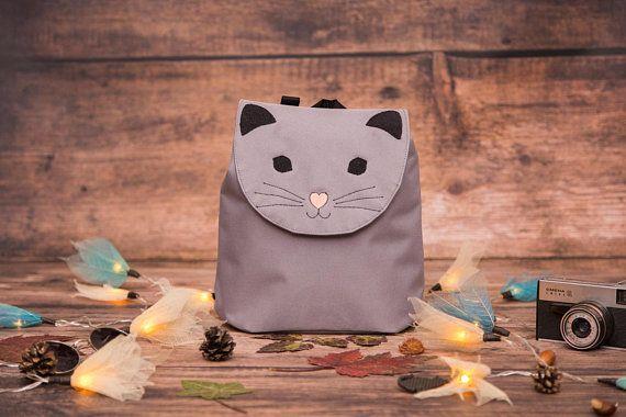 Grey Cat Bag, Cat Backpack, Embroidered waterproof backpack, Toddler Backpack, Forest Animal Bag