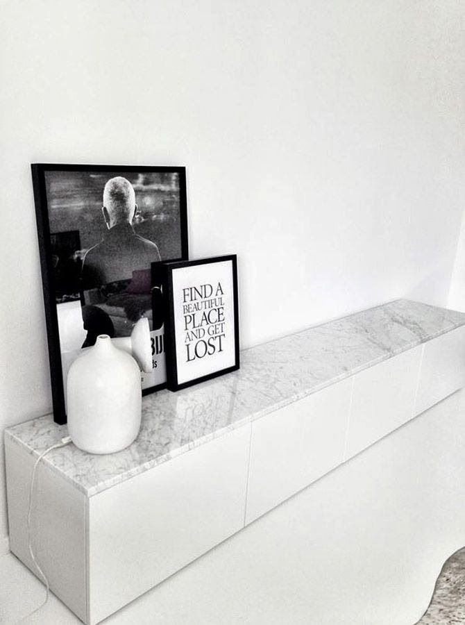 Loving the idea of marble to top this Ikea hack. The Little Design Corner: Interior styling | IKEA Besta units