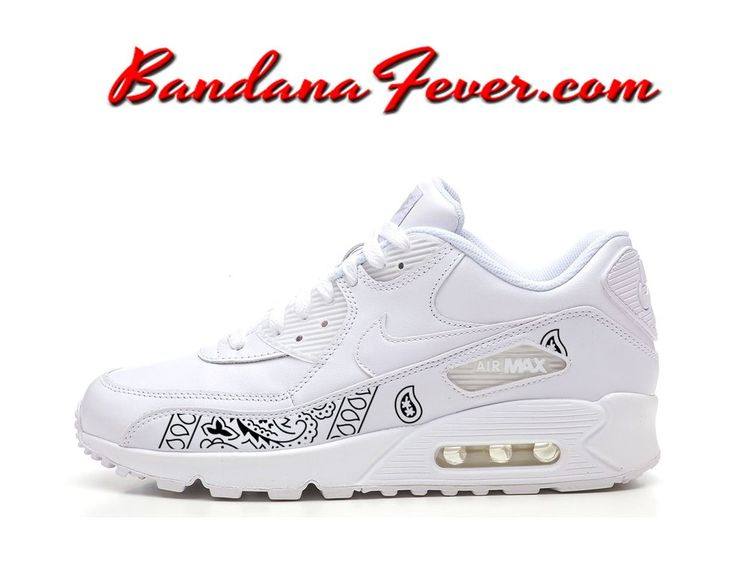 Custom Black Bandana Nike Air Max 90 Shoes White, #streetwear, #airmax90,  #airmax