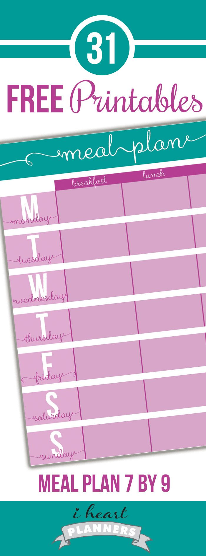 Free printable menu planner to go in life planners (like Erin Condren or Plum Paper). It prints on regular letter paper and has crop marks so you can trim to it to size. (It perfectly matches the size of the Erin Condren/Plum Paper planners). Then you can use coil clips to put it in your planner.