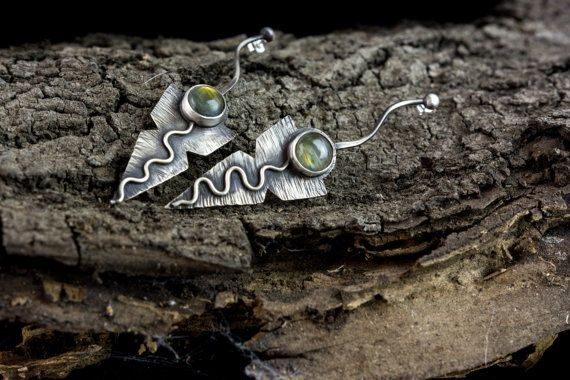 oxidized sterling silver earrings natural by Kirkihandmade on Etsy