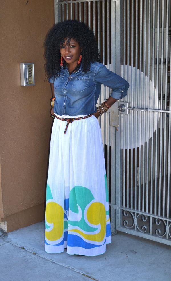 denim shirt diy maxi skirt and that hair