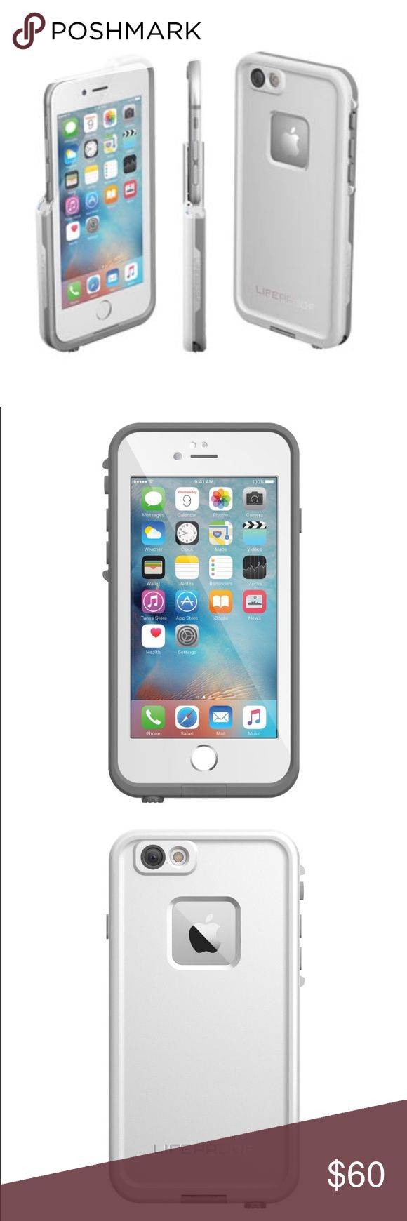 LifeProof FRE Waterproof iPhone 6/6s Case Case was only used for one week and is in great condition!   LifeProof FRE Waterproof Case for iPhone 6/6s (4.7-Inch Version)- Avalanche (Bright White/Cool Grey) - SKU 77-52564 - Built-in scratch protector, full access to buttons and controls - charge and sync through the micro USB port. WATERPROOF Submersible to 6.6 feet / 2 meters for 1 hour SNOWPROOF Closed to snow and ice DIRTPROOF Sealed from dirt and dust - DROPPROOF Survives drops from 6.6…