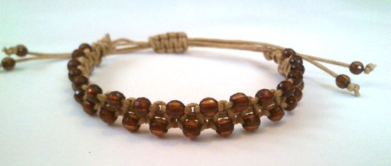 macrame bracelet with polygonal beads by KleopatrasCreations