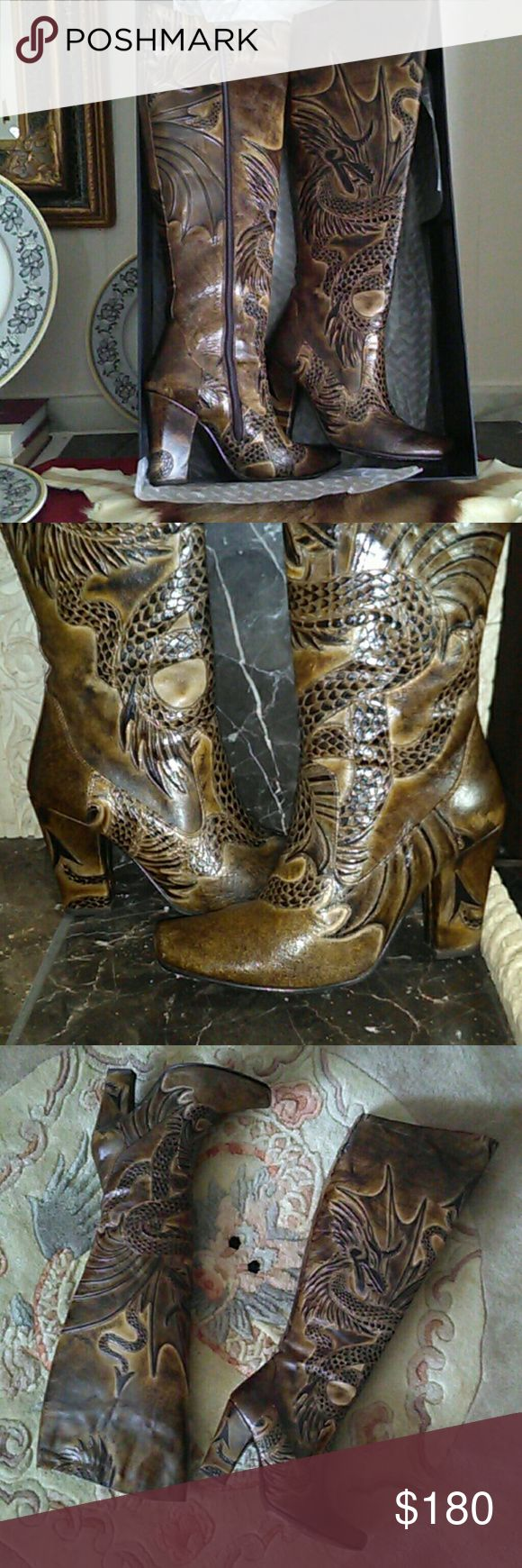 BOLO venera boots Bolo genuine  dark brown leather, hand made dragon design, model number Generator BL 8309, gorgeous  design. Used one's, still in box, not  damage caused, additional pictures if requested. BOLO Shoes Ankle Boots & Booties