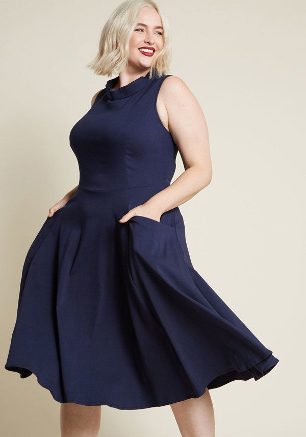 32d315c8fe6 Plus Size Midi Swing Dress in Navy - We know you re crazy for the fold over  collar