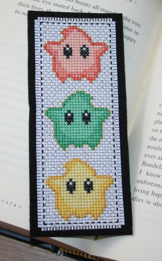 Luma cross stitch bookmark Super Mario Galaxy por LyndasCraftRoom
