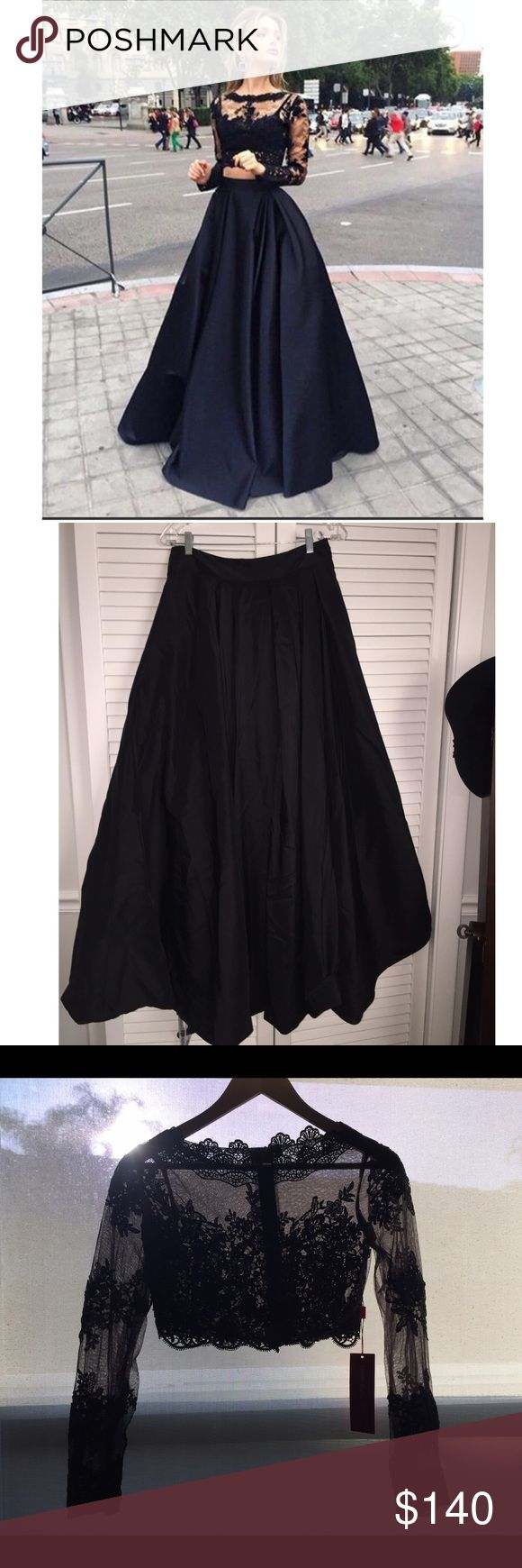 Black Two-Piece Prom Dress Beautiful lace top with an a-line skirt. There is also a detachable under bra but it looks more fitted without it. I'm 5.5 and there's an extra inch or two for heels :) Dresses Prom