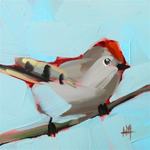 """Ruby-Crowned Kinglet no. 11 Bird Painting"" - Original Fine Art for Sale - © Angela Moulton"