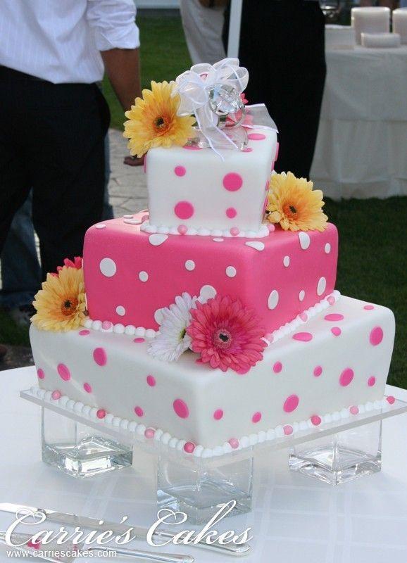 @Kathleen DeCosmo ♡❤ #Cakes ❤♡ ♥ ❥  pink and white wedding cake