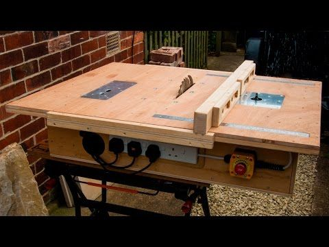 Homemade table saw with built in router and inverted jigsaw 3 in 1 - YouTube video - USE SOME IDEAS ON OWN BUILD
