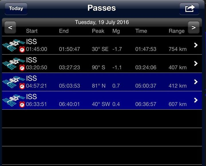 ISS Schedule Passing over Bexhill July 2016