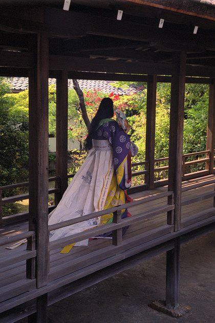 Ninna-ji features shinden-style covered walkway. Kyoto, Japan