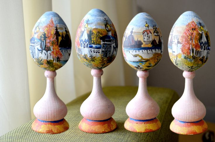 Wooden Eggs Oil hand painted Easter decorated russian landscapes ikons by AnnaWeissArt on Etsy