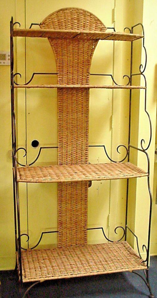 Wrought Iron Wicker Bakers Rack Etagere Shelf High End Decorator Item