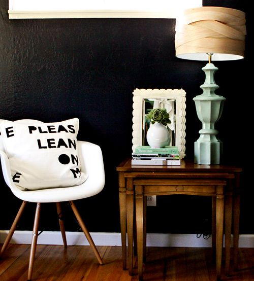 The black wall... I looooove!: Mint Green, Balsa Woods, Lamps Shades, Design Sponge, Woods Lampshades, Dark Wall, Pillows, Black Wall, Diy Projects