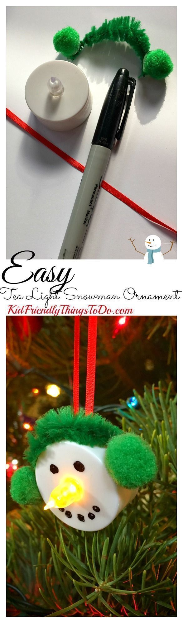 Easy Snowman Tea Light Ornament Craft for the perfect stress free craft with kids! - Great for a classroom party - http://KidFriendlyThingsToDo.com (Kids Christmas Party)