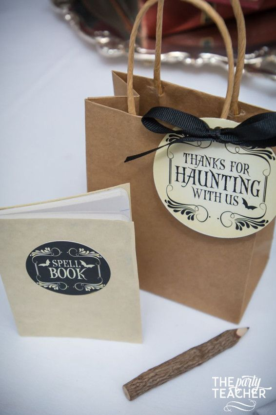 Give your guests a spell book and twig pencil at your Witch's Tea Party | The Party Teacher | http://thepartyteacher.com/2015/10/23/how-to-host-a-witchs-tea-party-put-a-halloween-spin-on-the-classic-tea-party/