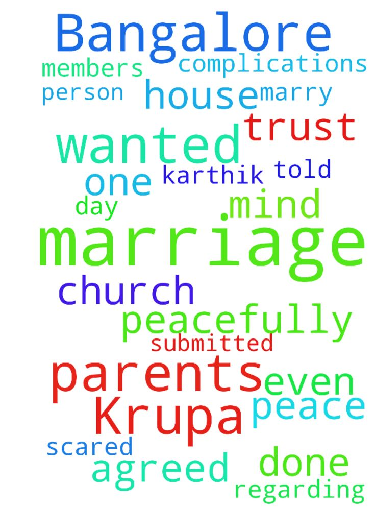 I'm Krupa from Bangalore.  I wanted - Im Krupa from Bangalore. I wanted to marry a person name karthik. I told about him in my house and my parents and their parents agreed for my marriage. But every day one r the other complications are there regarding our marriage. He trust in Jesus Christ. And even I submitted my marriage to my Jesus. But there is no peace of mind. Feeling scared. Please pray for my marriage. It should be done peacefully with the blessings of my Jesus and all church…