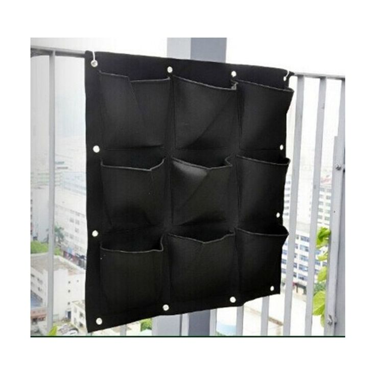 9 Pocket Green Vertical Garden Planter Wall Mounted Planting Flower Grow Bag