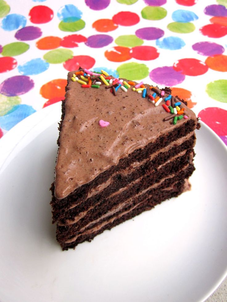The perfect single slice of chocolate layer cake