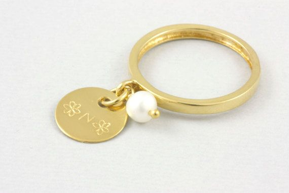 Gold Monogram Ring, Dangling Ring, Initial Ring, Pearl Ring, Engraved Disc Ring, Gold Filled Ring, Gift for Her, Dangle Ring, SR0208