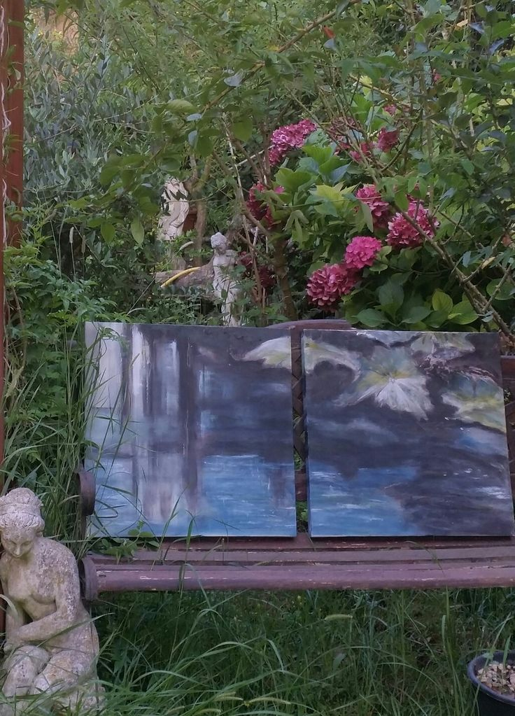 """RIFLESSI"" mix media 100x50 by Barbara Reale  Perfect for Girasolereale b&b Rome garden"