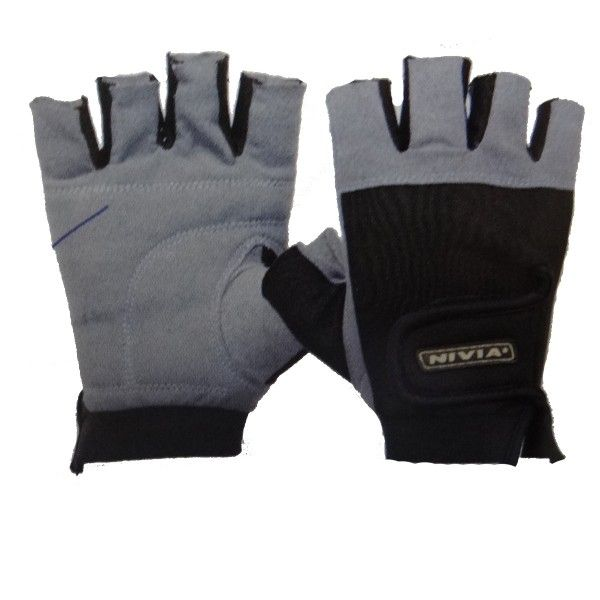 Nivia Leather Gym Gloves Product Code: FS1596  The Product is Made of Pure Leather and Mesh Cotton and one size fits all hands. The product is not only ideal for Fitness only but can be used for Sports also. It is highly stretchable and durable.  Size: One Size Fits All Material: Geniun Leather Type: Cut Finger Type  MRP: Rs 470.00/- Discount: 21 % Our Price:Rs 370.00/-