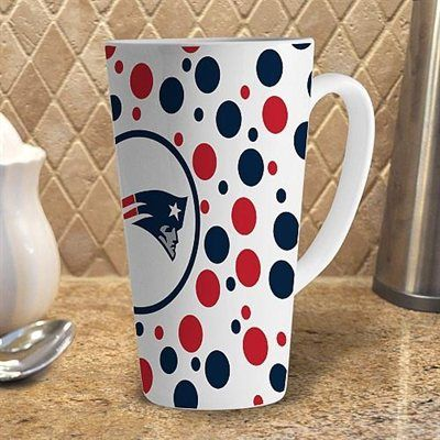 Memory Company New England Patriots 16oz. Polka Dot White Latte Mug