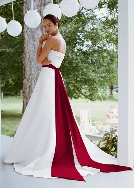 My dream wedding dress simple with a train a bright for Wedding dress with red ribbon on waist