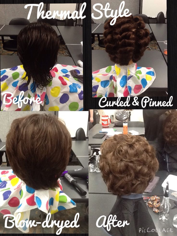 Thermal style, blowdry style first and then iron curled and brushed out